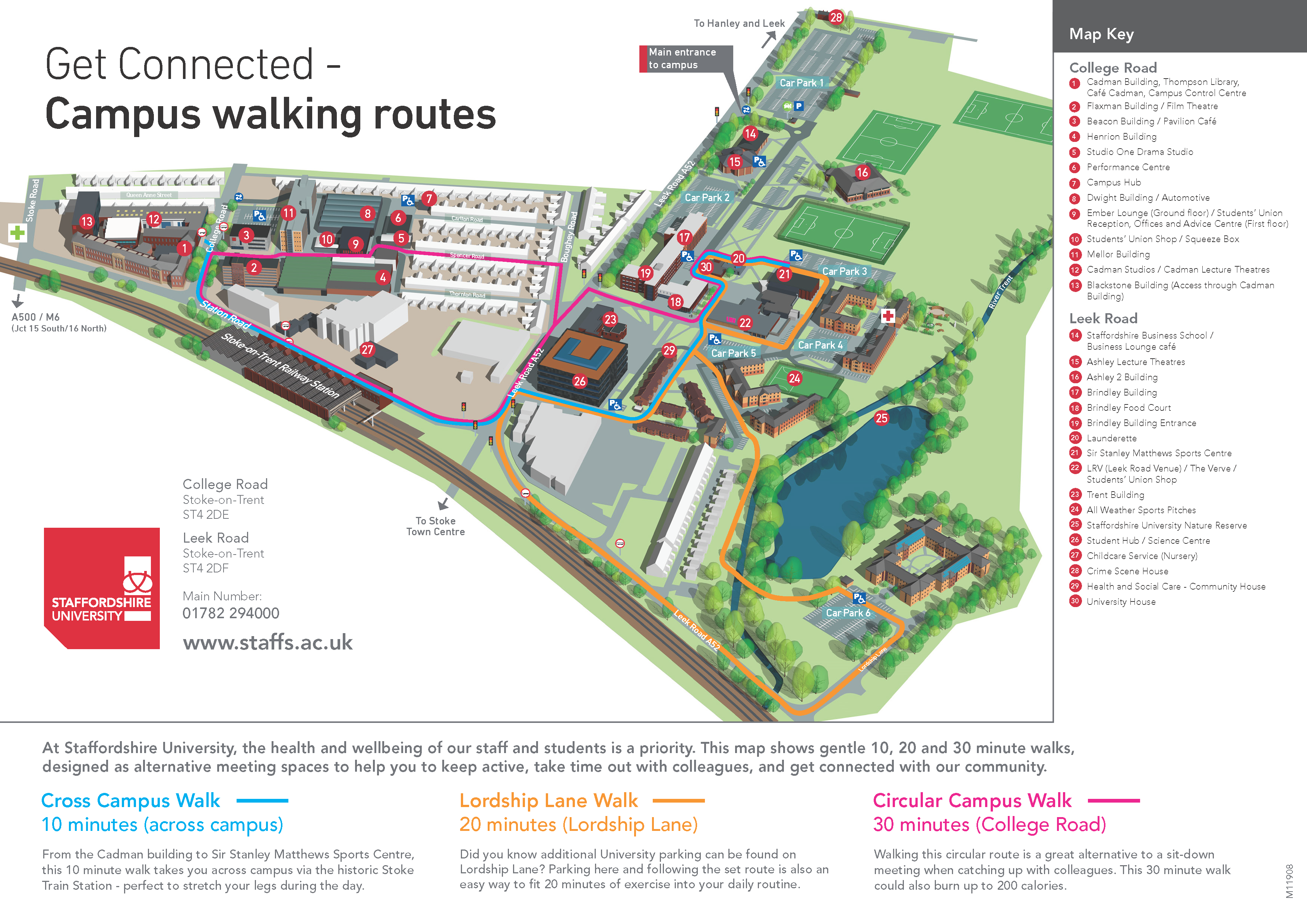 staffordshire university stoke campus map Campus Walking Maps staffordshire university stoke campus map