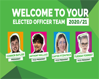 An image displaying Connor, Anthony, Carter and Tuesday - your Elected Officer Team for 2020-2021 -