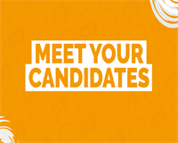 orange background with meet your candidates