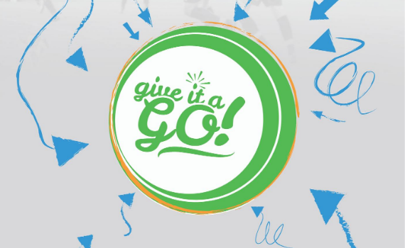 Give it a Go branding: White background with blue and green illustrations