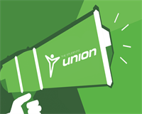 megaphone with union logo on