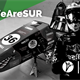 #WeAreSUR on green corner with photo of formula student racing car and driver